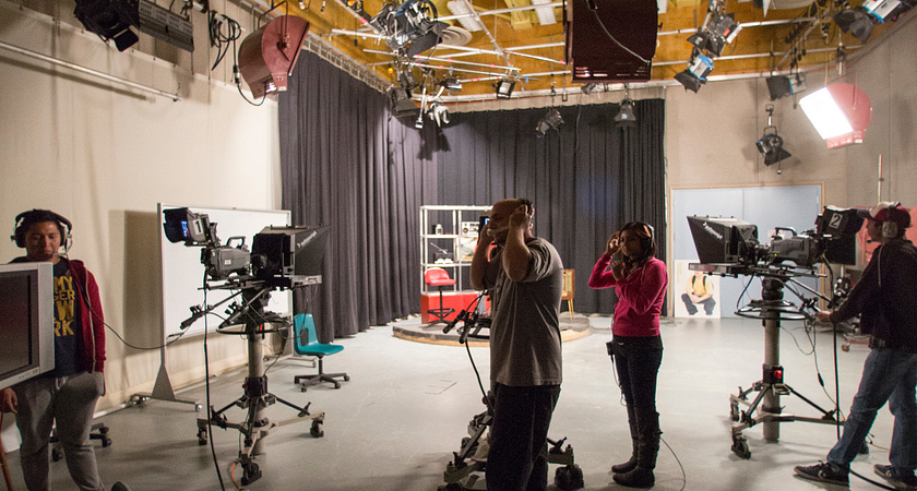 students working in the television studio at the Story Arts Centre