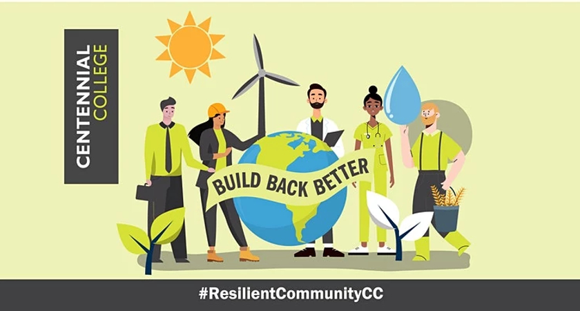 Illustrated banner depicting a group of people standing by the world and the words Build Back Better