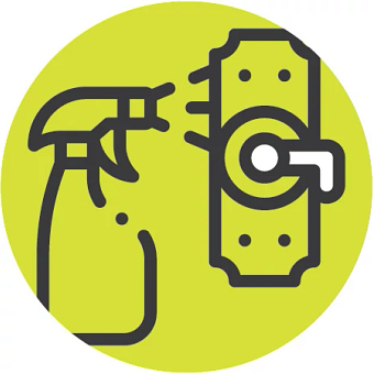 Illustrated icon of a spray bottle to keep areas clean