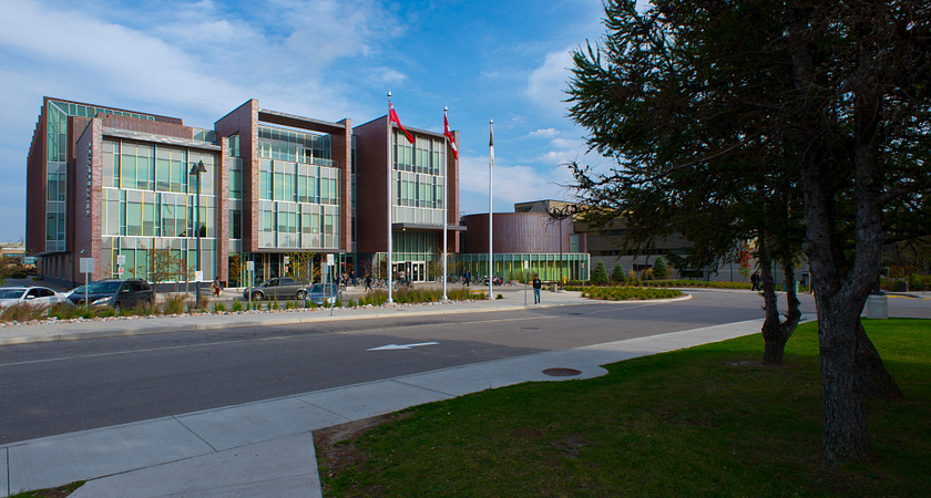 centennial college progress campus library building on a sunny fall day