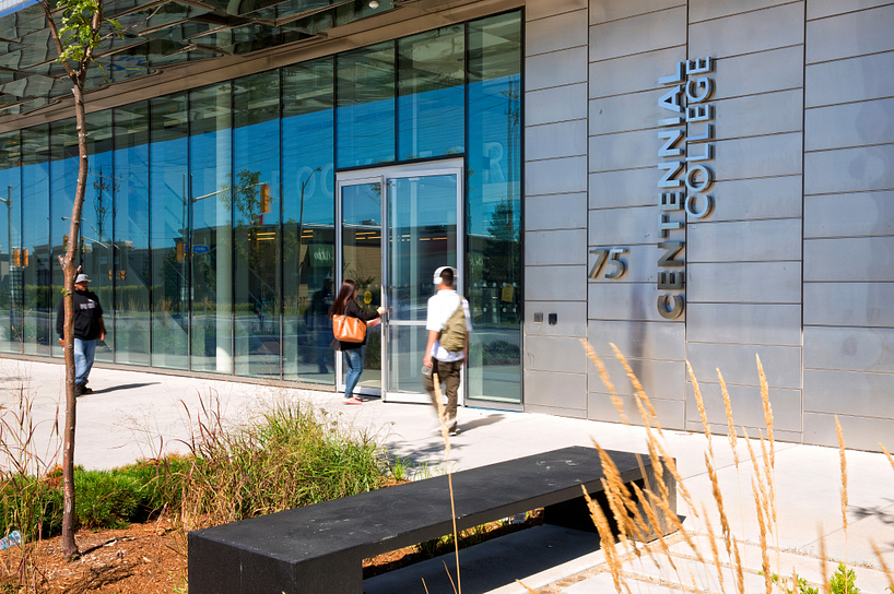 Centennial College Ashtonbee Campus building exterior with students entering the building