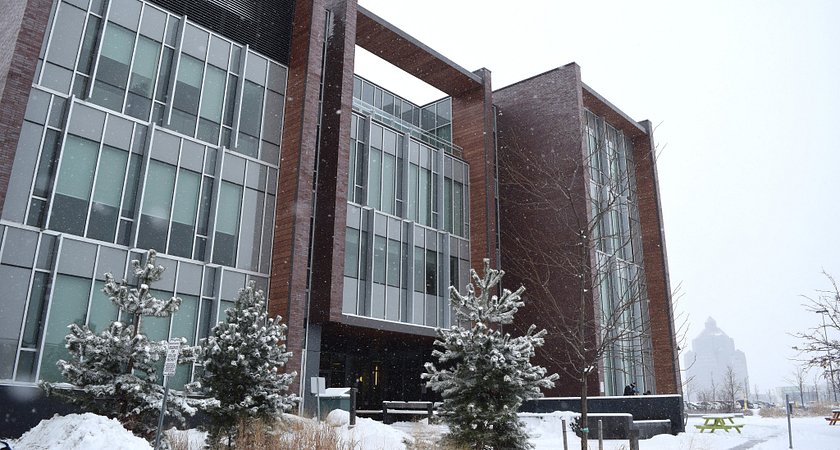 centennial college progress campus library building and courtyard after a snowfall