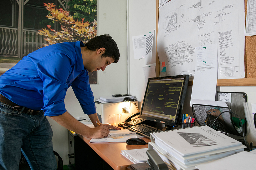 centennial college architectural technician student working on architectural plans
