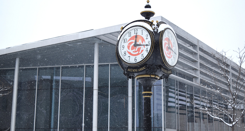 Centennial Progress Courtyard clock in winter