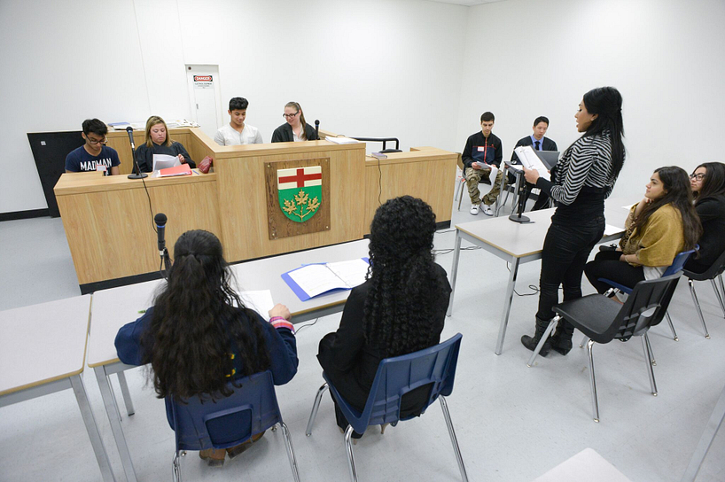 centennial college students participating in a mock trial