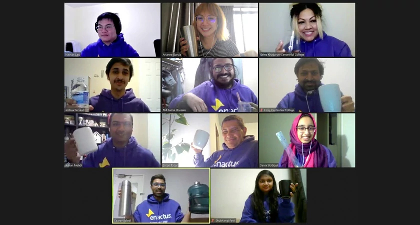 Enactus Students smiling over zoom