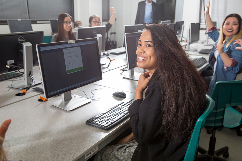 centennial college students working in a computer lab