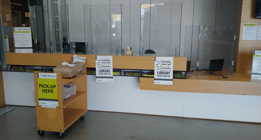 the centennial college morningside campus library grab and go counter and shelves