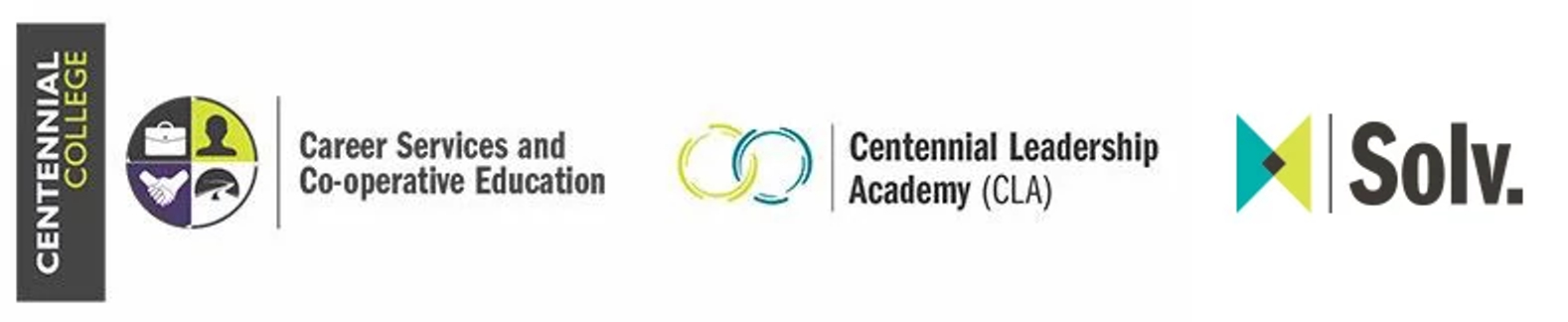 centennial college logo and wordmarks for career services and co-operative education, centennial leadership academy and solv