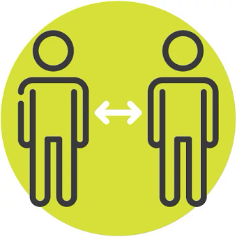 Illustrated icon of two people social distancing six feet apart