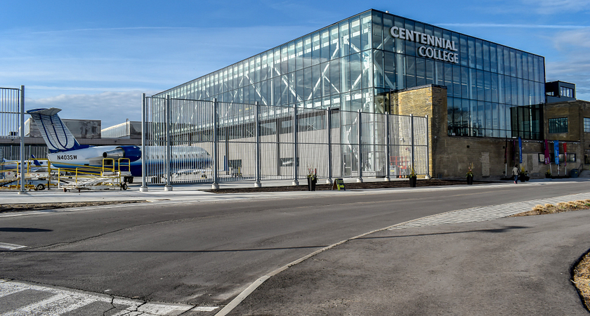 centennial college downsview campus hangar and main building exterior