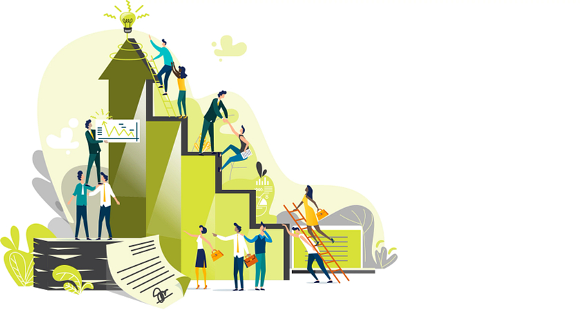 Illustrated graphic of workers climbing the corporate ladder