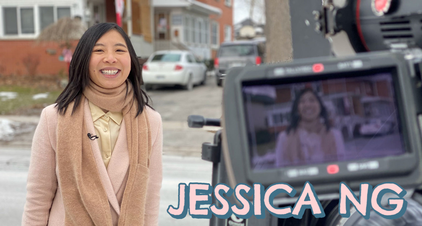 jessica ng smiling while on camera reporting