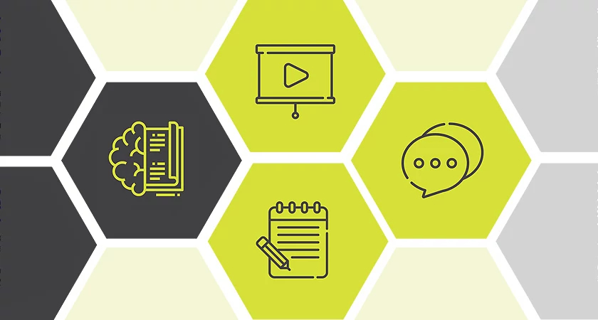 Universal Design for Learning icons arranged in hexagonal honeycomb shapes