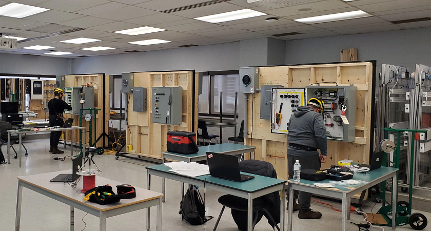 Skills Ontario students in a lab working on their projects