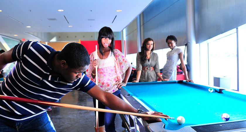 Picture of students participating in leisure activities at a community centre