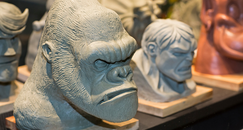 picture of Centennial College student sculptures of an gorilla head and the Hulk