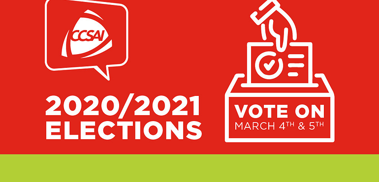 CCSAI banner for 2020-2021 Elections - Vote on March 4th and 5th