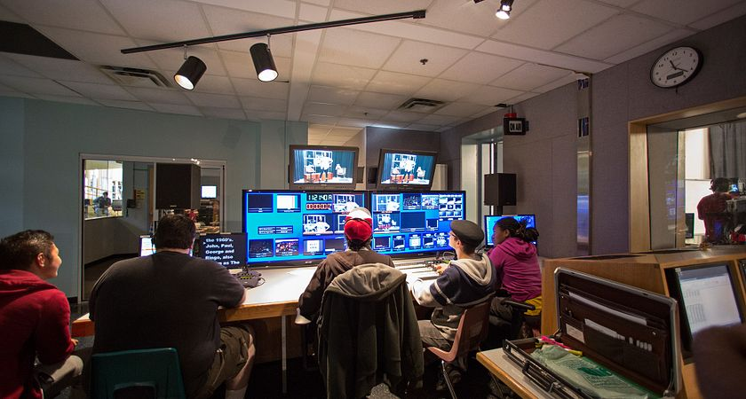 Picture of Centennial College broadcasting students in the studio