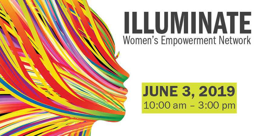 Multicolour women face banner. A representation of the Illuminate event