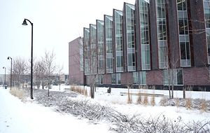 picture of Centennial College Progress Campus in the winter covered by snow