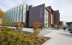 picture of the Centennial College progress campus library entrance in the fall
