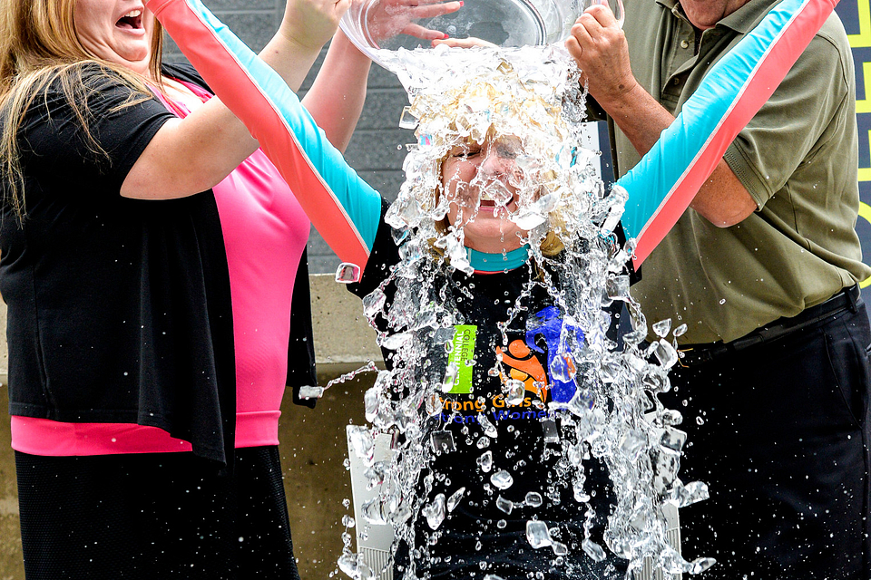 Photo of Ann Buller participating in the ALS Ice Bucket Challenge, 2014.