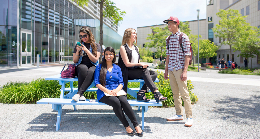 picture of Centennial College students sitting in the Progress Campus Courtyard
