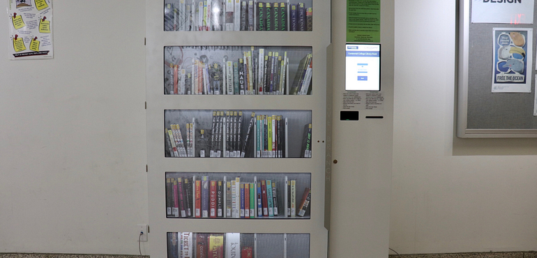 picture of Novelbranch book lending kiosk at Story Arts Centre Campus