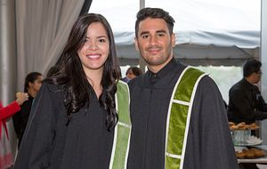 picture of two Centennial College graduates at their convocation ceremony