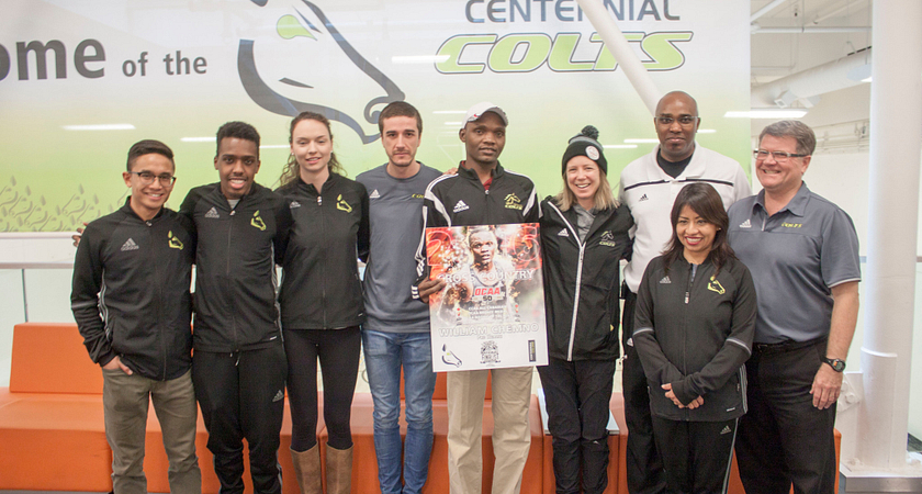 picture of the Centennial College Colts Cross-country team at Ashtonbee Campus for a cross-country celebration event