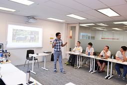 Picture of a Centennial College English Language Learning instructor teaching a class at the Eglinton Learning Site