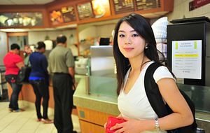 Picture of a Centennial College student in the Progress Campus cafeteria