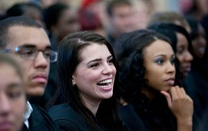 Picture of Centennial College students at their convocation ceremony smiling