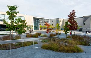 Picture of the Centennial College Progress Campus courtyard by the Athletic and Wellness Centre