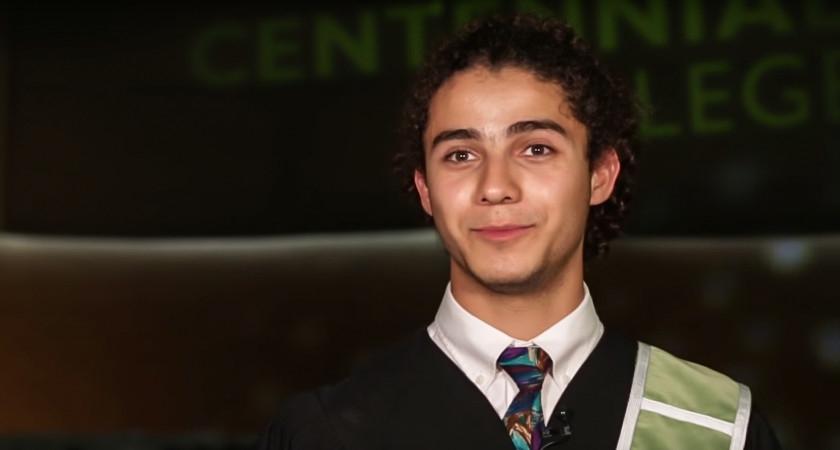Photo of Sam Casais at Centennial College convocation