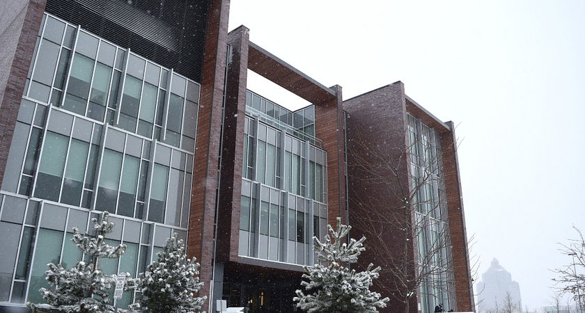 Progress Campus library building exterior in the winter