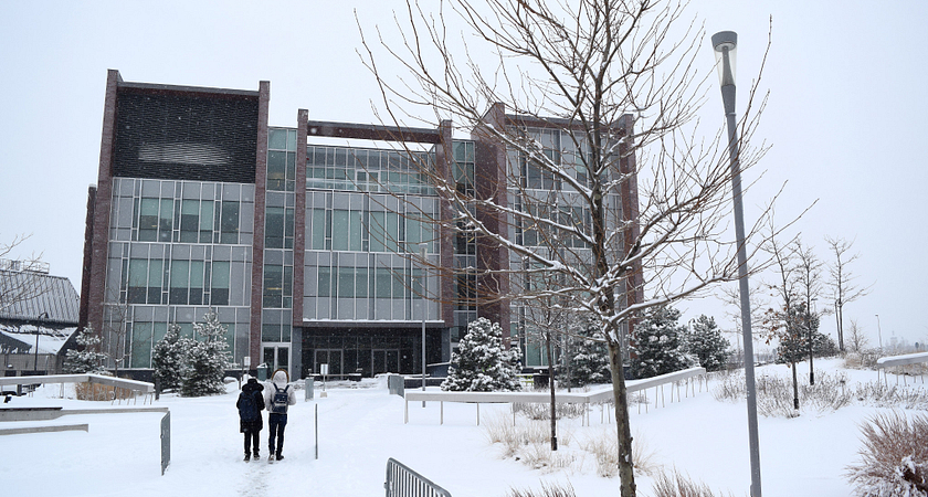 Progress Campus Exterior during winter season