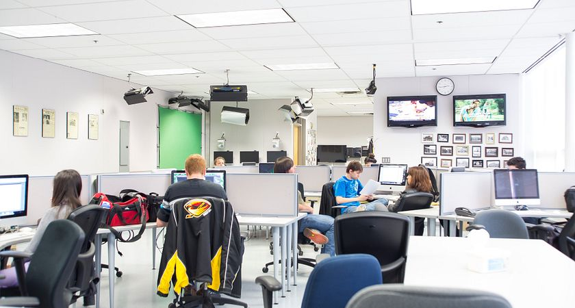 Centennial College students in the computer lab.