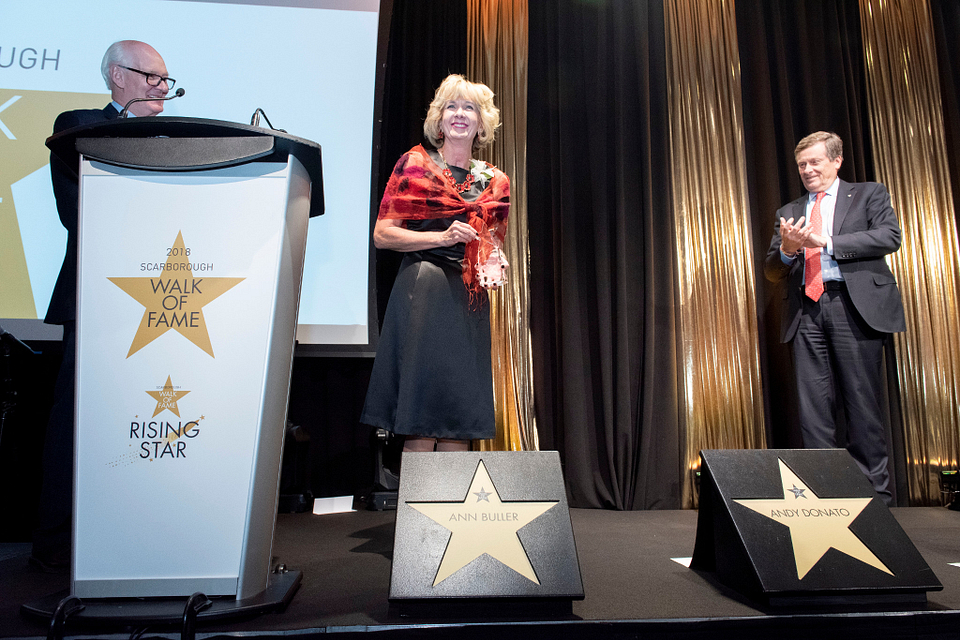 Photo of Ann Buller accepting her star from Toronto Mayor John Tory at the Scarborough Walk of Fame presentation, 2018.