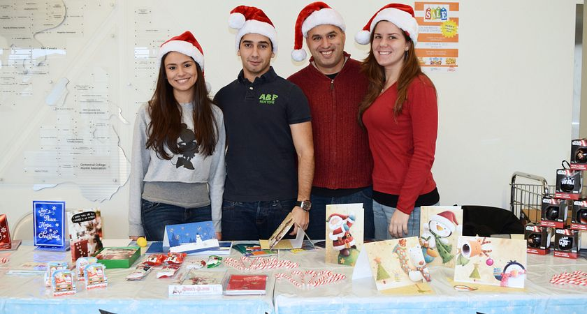 picture of Centennial College business administration program students at their pop-up shop