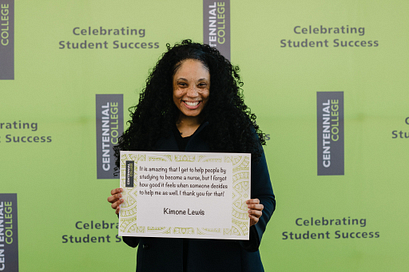 centennial college scholarship recipient kimone lewis smiling in a graduate gown