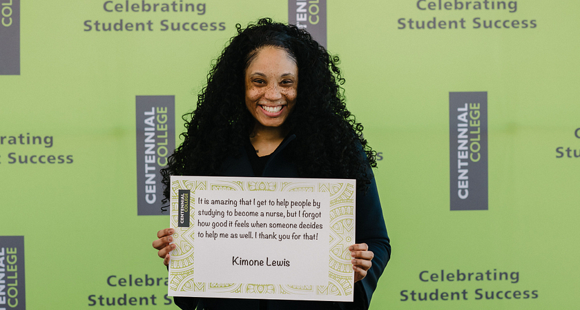 picture of a centennial college student who received a scholarship