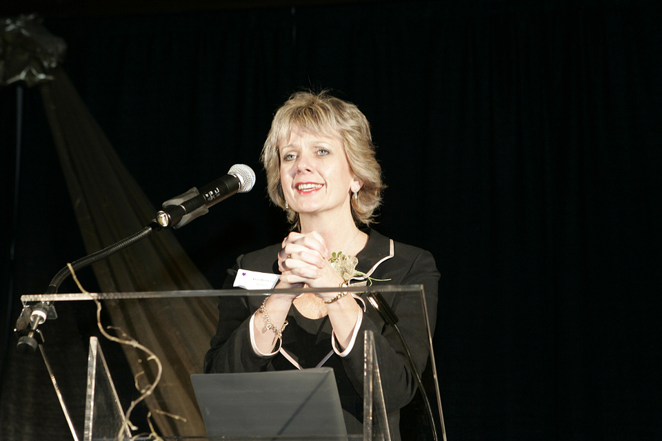 Photo of Ann Buller addressing the audience at Student Awards Night, 2004.