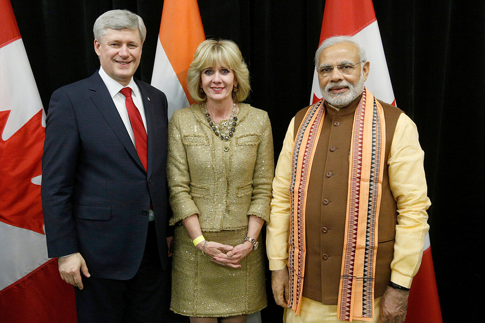 Photo of Ann Buller with Prime Minister Stephen Harper and Narendra Modi, Prime Minister of India, 2015.
