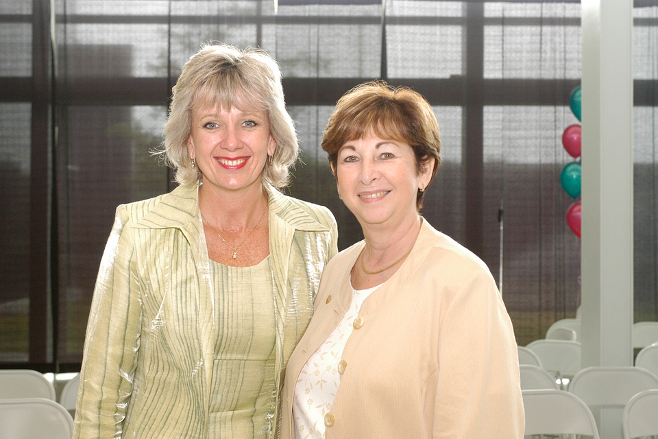 Photo of Ann Buller with Debby Kaplan at Centennial Day, 2004.