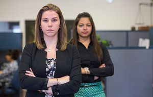 Picture of two Centennial College business students