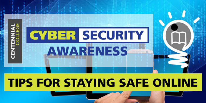 Poster of tips for staying safe online for Cyber Security Awareness Month