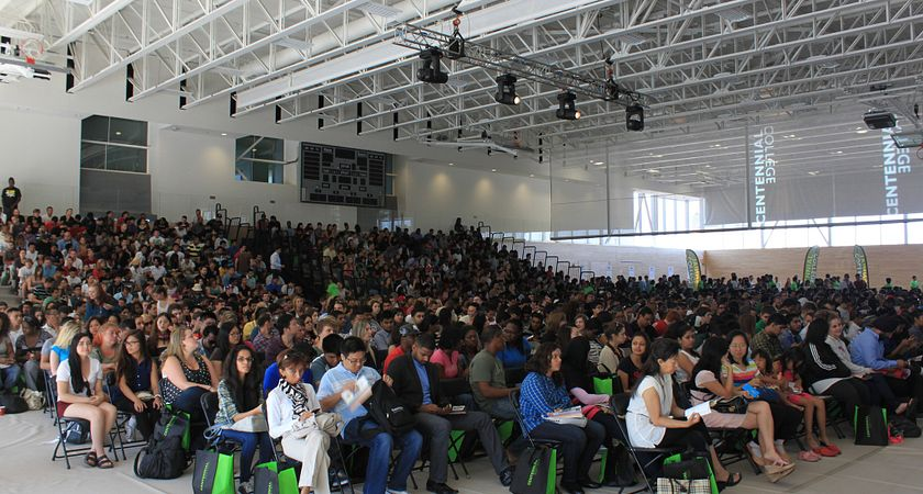 Picture of the audience inside the AWC at Progress campus during Centennial Welcomes 2012