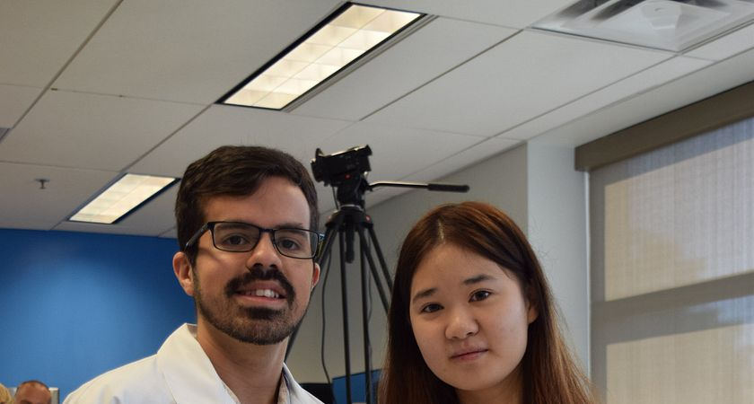 Picture of two Centennial College Electronics Engineering Technician Students in the Samsung Pathway
